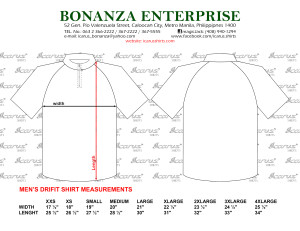 Drifit Shirt Measurements